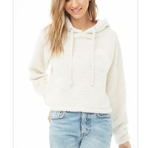 Forever 21 Cream Faux Shearling Drawstring Hoodie